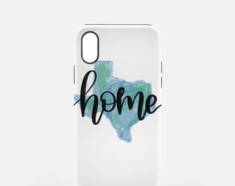 Texas Home iPhone X Case | Tough iPhoneX Case | Texas Home Art | Hand Lettered Graphics | Unique Texas Gift | Texas Home iPhone Case