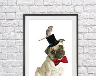 Pug, dog print, animal print, funny animal print, cute animal, kids bedroom art, childrens room, playroom, quirky animal, whimsical,