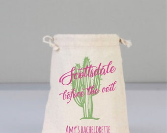 Scottsdale, Scottsdale Before The Veil, Scottsdale Cactus Bachelorette Party Favors, Bachelorette Party Bag, Drawstring Mini Favor Bags