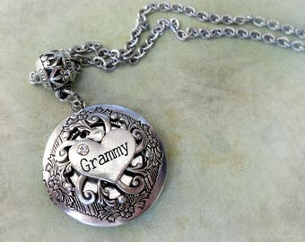 Grammy Locket Necklace, Elegant Filigree Heart, Quality Stainless Chain, All Sizes, Gift Boxed, Best Birthday, Pretty Gift Jewelry