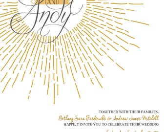 Gold Burst Wedding Invitation - Digital File