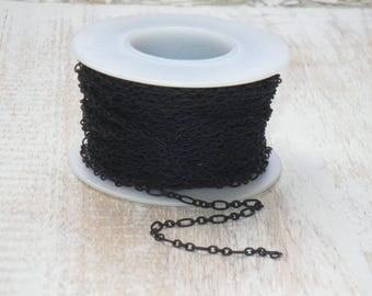 Fine Figaro Chain in Black Nite-Dainty Chain