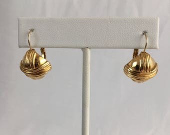 Monet Small Square Button Criss Cross X Gold Tone Clip Vintage Earrings