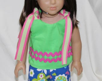 """18"""" American Made Girl Doll Clothes, Modeled on Christie American Girl Doll, Fun Green Tie Top & Blue Floral Pattern Pants"""