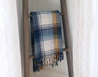 SALE: Vintage Faribo Blue & White Plaid Throw - Good Condition
