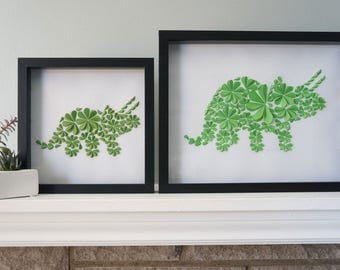 Triceratops - Unique Framed Dinosaur Paper Art for Home Decor! Perfect for a Baby Shower, Children's Bedroom, or Anywhere! By DinoCat Studio