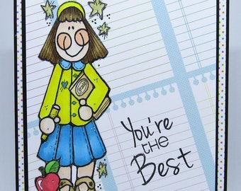 Teacher Card - Back To School Card - School Card - You're The Best- Apple Card - Teaching Card - Teacher Appreciation Card - Handmade Card