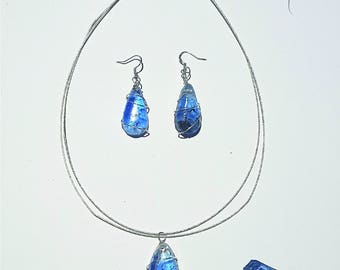 Blue & Black Painted Resin Necklace and Earring Set with Wire Detail
