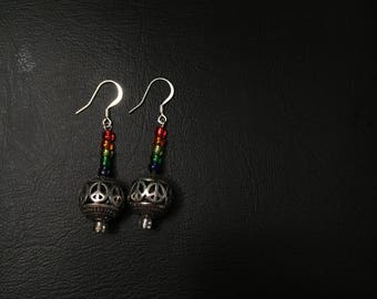 Rainbow & Peace Bead Earring