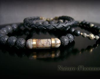 Men jewelry, a trio of bracelets in leather and natural stones Ref: BN-404