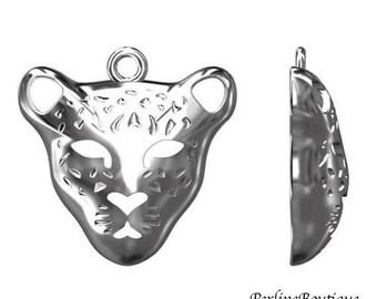925 sterling silver Leopard head charm