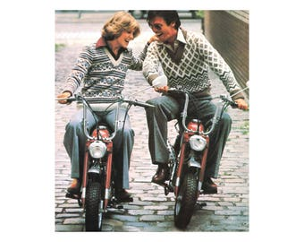 His & Hers Sweaters Knitting Pattern - Vintage Patterned Pullovers in Flowers and Stripes or Diamonds and Zigzag