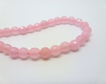 12 pearls tinted jade 6mm pink faceted (USPJ08-2)