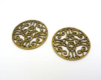 4 pendants connectors round openwork Arabesque 28 mm antique bronze (8SCB08)