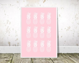 Pineapple Print, Pineapple Wall Art, Pop Art, Printable Art, Pineapples Poster, Pink Print, Pineapple Decor, Tropical Decor,Kitchen Wall Art