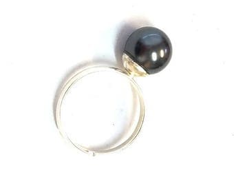 adjustable silver ring - black Swarovski Pearl