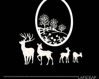 lot cutouts scrapbooking frame landscape tree DOE deer Fawn animal scrap paper embellishment die cut