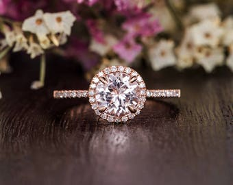 Pink Morganite Ring Rose Gold Engagement Ring Antique Halo Diamond Woman Ring Antique Promise Bridal Half Eternity Gift Claw Prongs Stacking