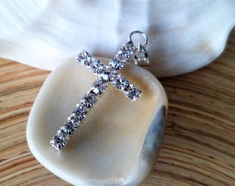 1 silver cross pendant and rhinestones 33 mm