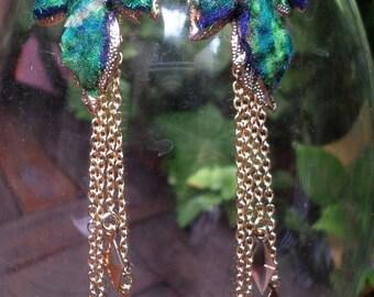 """Earrings silk felted """"Carlotta"""" 11cm - unique"""