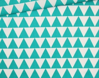 Triangles, 100% cotton fabric printed 50 x 160 cm, white and turquoise triangles