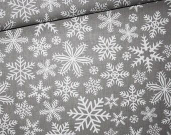 Fabric snowflakes, winter, 100% cotton printed 50 x 160 cm, snow white on gray background