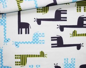 Giraffe, 100% cotton fabric printed 50 x 160 cm, giraffes on blue background