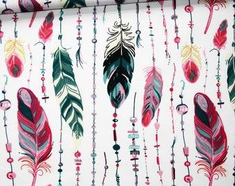 Tissu plumes, 100% coton imprimé 50 x 160 cm, plumes rose, bleu pétrole, fuchsia sur fond blanc