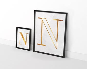 Two original posters gold on white marble - customizable letter of your choice