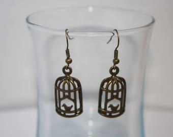 Bronze bird cage earrings
