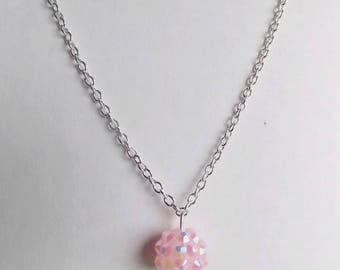 Silver Pendant chain shamballa pink pale or white