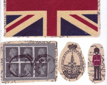 """Best Seller! """"God save the queen"""": 6 pictures sewing applied England theme for customization"""