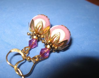 handcrafted earrings magic Pearl and bicone pink Crystal, gift idea