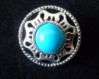 2 buttons with shank 18 mm Turquoise Cabochon