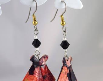 Dress paper origami earrings Japanese swarovski crystal