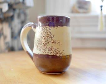 Hand-thrown Stoneware Ceramic Mug   Original Design   Alphabet Soup  
