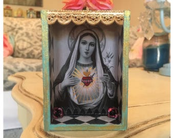 Virgin Mary pocket Nicho, shrine, altar, catholic box, retablo, catholic gift, sacred heart, mini, religious art
