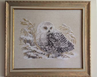 """Completed """"Winter Owl"""" Cross Stitch"""