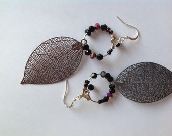 Gray and black leaf earrings Hoop and prints