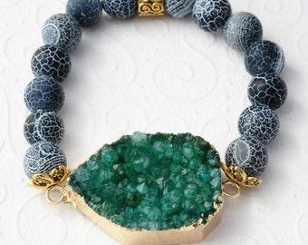 Green Bracelet Stacking Bracelet Elastic Bracelet Grey Gem Bracelet Fertility Bracelet Healing Bracelet Recovery Jewelry Mala Bracelet