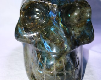 One of a Kind, High Grade, Hand Carved Labradorite Crystal Skull Carving, 4kg, 5 1/2 inches