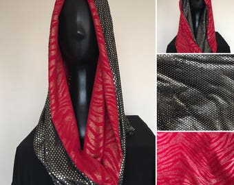 Festival Hoodie | Infinite Scarf | Cowl Neck Hood | Silver Dot Sequin | Red and Gold Animal Print