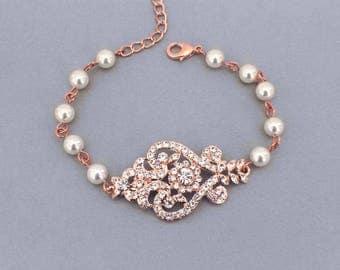 Rose Gold Art Deco bracelet, Bridal bracelet, Vintage style wedding bracelet, Pearl bracelet, Crystal bracelet, Wedding jewelry, Brides