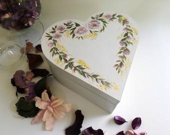 Heart shaped wooden box / rustic jewelry box