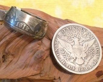 Barber half dollar coin ring