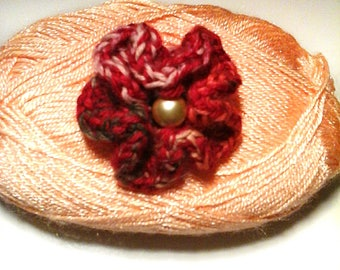 Adjustable ring wool red flower