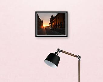 Sunset in Copenhagen print, sunset print, fine art print, wall art, wall print, city sunset, 8 x 6 inches print, home decor, street scene