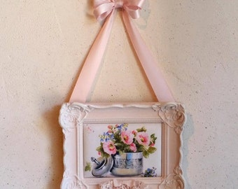 Vintage small frame shabby chic weathered pink powdered and ivory floral design printed on fabric
