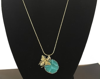Small Turquoise Gemstone Bee Necklace