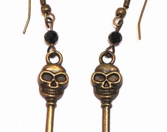 Gothic key earrings